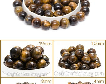 Genuine tiger eye beads 8mm Golden and brown tiger eye stone beads Roundgems Round beads Jewelry making beads / 10 beads About 7-8 cm