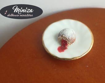 Miniature doughnut with jam, 1:12 scale
