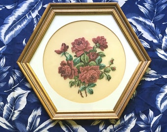 "Rose Needlepoint in Vintage Hexagon Frame - 12"" x 12"""