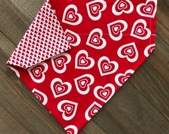 Red & White Hearts Reversible Valentine's Day Bandana, Valentine's Day Reversible Slide-On Dog/Cat Bandana