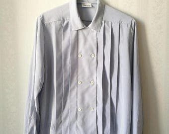 SUMMER SALE Wahls Ulricehamn boxy vintage pleated blouse, pale blue