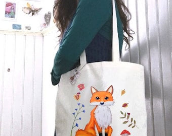 Fox tote, canvas tote bag, canvas tote, tote bag canvas, fox bag, canvas bag tote, tote canvas, fox gift, reusable grocery bag, reusable bag
