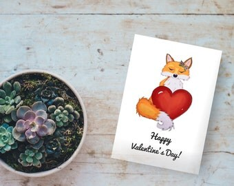 Happy Valentines day, happy valentines card, Valentines Day card, happy Valentines Day card, fox card, fox Valentine, valentines card kids,
