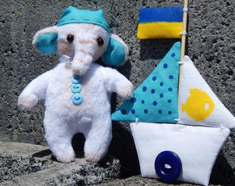 Small plush Elephant with a boat 5 inches of happiness handemade