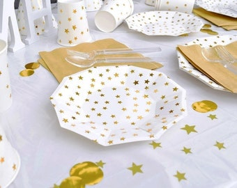 "7"" 9"" gold foil paper plates, 10pcs paper plates, gold foil star, gold party, party plates, disposable plates, baby shower, birthday party"