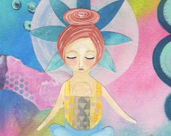 Babywearing painting - Mixed media girl -  yoga art - mother and child illustration - original art - wall art
