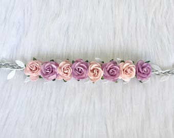 Pink and purple flower headband, lavender and pink flower halo, baby flower headband, baby flower halo