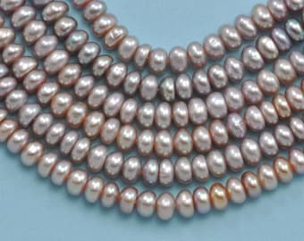5-6mm Mauve Lavender Pink Rondelle Freshwater Pearls Beads for Jewellery Making