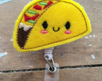 Taco ID badge reel holder retractable clip