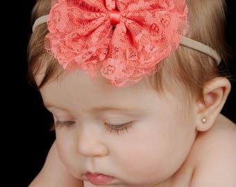 PICK 1 Lace Bow Headband, Nylon Headband, Bow Headband, Baby Headband, Newborn Headband, Baby Hair Bow, Nylon Hair Bow, Infant Headband