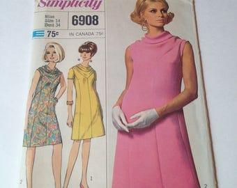 Vintage Simplicity 6908 A-Line Cowl Neck Dress Designer Fashion Size 14 Bust 34