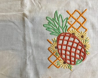 Vintage Super Fun Embroidered Pineapple Tablecloth