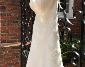 14/ Ivory Lace Pearl Overlay Wedding Dress  / Princess / Wedding Gown / Train / Gorgeous / A line Dress / Pearl Edge Train