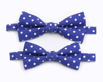 Gift For Dad And Son Matching Set Navy Polka Dot Bow Ties Boys Bow Tie Mens Bow Tie