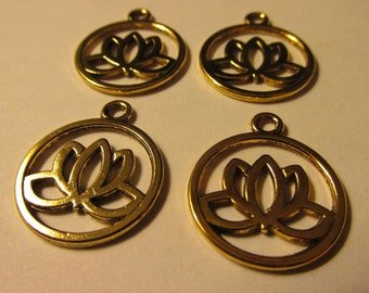 """Antique Gold Tone Metal Lotus Blossom in Circle Charms, 3/4"""", Set of 4"""
