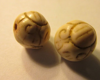 Carved Off-White Howlite Beads, 10mm, Set of 2