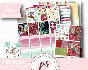 Summer Paradise Full Weekly Kit Printable Planner Stickers | JPG/PDF/Silhouette Compatible Cut Files | For Use with ECLP Vertical