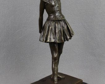 Bronze sculpture Little Ballet Dancer after Edgar Degas on Marble Base French Impressionism ballerina young girl figurine figure statue