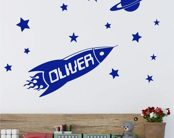 Rocket Space Personalised Boys ANY NAME Childrens Nursery Bedroom Vinyl Matt Wall Art Sticker Decal Transfer 330mm *20 colours""