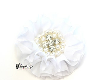 Chiffon Flowers-Pearl chiffon flowers-ruffle chiffon flowers-3.5 in flowers-headband flowers-flowers for headbands-diy headband-White