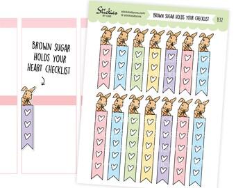HEART CHECKLISTS Brown Sugar Holds Your Heart Checklist, Functional Sticker, Checklist    B32