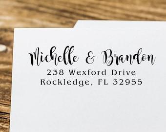 Return Address Stamp Names Self Inking - Calligraphy Font - Wedding Gift Bridal Shower Gift  Realtor Gift Housewarming Gift E48