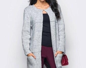 Long knit cardigan Gray Autumn cardigan Long sleeve Oversized knitted cardigan Womens cardigan autumn Womens Beige coat Long wool cardigan