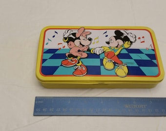 vintage mickey & minnie mouse yellow pencil / crayon box - tin metal company made in korea - walt disney collectibles kids drawing supplies