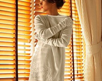 Lace Embroidered DUSTY IVORY CHAMPAGNE Cardigan Short Angora Wool Cardigan, Wrap Dress, Made to Measure Luxury Cardigan, Plus Size Cardigan,