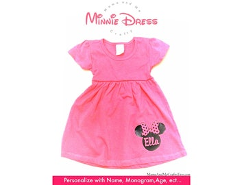 Minnie Mouse Dress, Toddler Dress, Baby Dress, Disney, Minnie Mouse Ears, Personalized Dress, Monogram, Minnie Mouse Monogram, Minnie Mouse