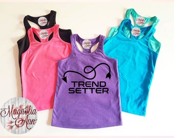 Trend Setter, Infant, Toddler, Little Girls Racerback Tank Top in 6 Colors in Sizes 6 Months-6X