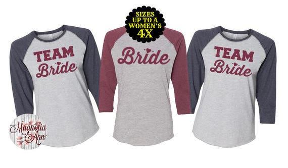 Team Bride Baseball Raglan T Shirt, Bridal Party Shirt, Bridesmaid Shirt, Bachelorette Party, Plus Size Bride Shirt, Plus Size Bridal Party