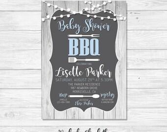 Baby Shower Invitation, BBQ Invitation, Blue Baby Shower Invitation *DIGITAL FILE*
