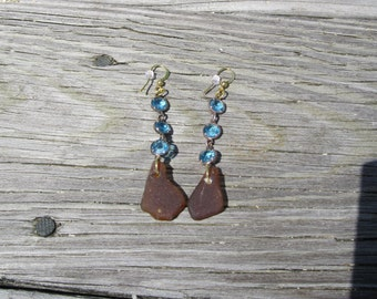 Turquoise Crystal Circle Earrings with Brown Sea Glass