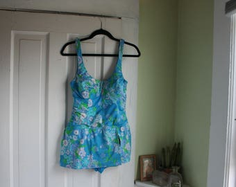 Size 16/18 Vintage Bathing Suit Blue One Piece