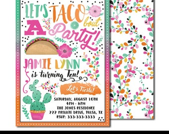 "Taco Bout a Fiesta #2 Digital Printable Girls Mexican Cactus Rainbow Floral Watercolor Birthday Party 5x7"" Invitation PERSONALIZED"
