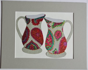 Original paper collage matted for hanging – Pitchers & Bowls Series #23