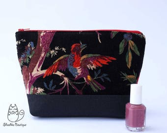 Makeup pouch, cosmetic pouch, gift for mom, medium zipper pouch, bridesmaid gift, red  floral zipper pouch, Gadget Bag, Jewelry Pouch