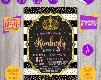 Black and Gold Princess birthday Invitation, Crown Invitation, Princess party invite, Gold Glitter invitation, Glitter invite, Polka dot