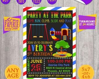 Park Birthday Invitation, Park Birthday Party Invite, Park Party Invitation, Party at the Park, Playground Birthday Party, Boy 1st birthday