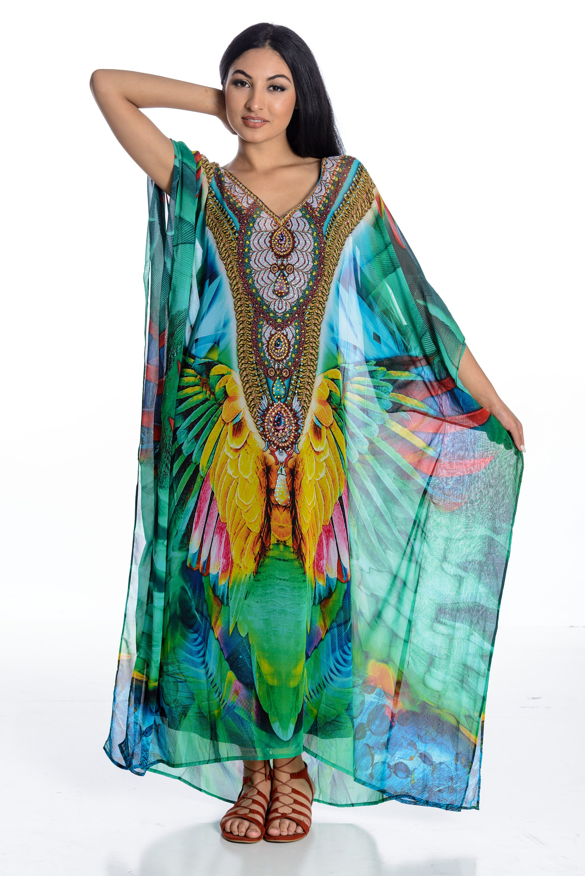 Fabric % Silk (Soft feel) Kaftan Length adjustment is possible. Regular length is 60