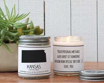 Kansas Scented Candle - Homesick Gift | Feeling Homesick | State Scented Candle | Moving Gift | College Student Gift | Kansas Lover
