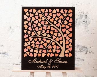 Wedding guest book alternative Wood wedding guestbook alternative Custom wedding book Sign in book Wedding Peach Rustic wedding guest book