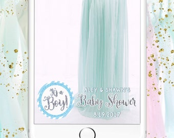 Boy Baby Shower Snapchat Filter - It's a Boy! Blue Silver Glitter & White Custom Geofilter Design