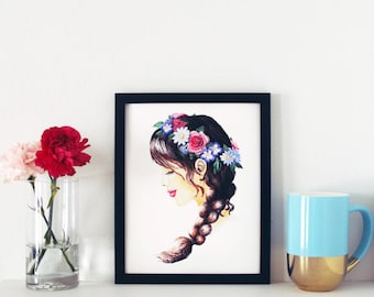 Flower Crown Print, Fashion Illustration, Watercolor Print, Art Print, Fashion Print, Home Decor, Gifts For Her, Nature Lover Gift, 8x10