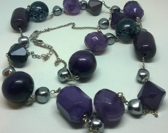 Long silvertone chain necklace by M&S with purple and silver plastic beads