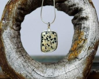 Dalmatian jasper pendant, spotted stone, semi precious pendant, pretty necklace, rustic jewellery