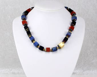 Colourful Cube Necklace With Elegant Golden Elements – Geometric Crystal Necklace, Gemstone Necklace