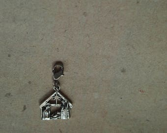 Charm Crib pendant necklace, Christmas Mary, Joseph and baby Jesus