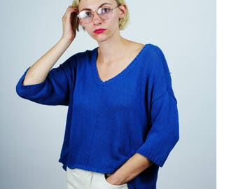 SPARKLE + FADE/UO High Low Bright Blue Sweater